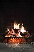 Loderndes Kaminfeuer