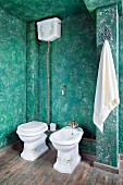 Toiler with cistern and bidet against green, sponged wall in rustic bathroom