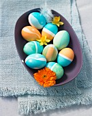 Easter eggs dyed blue and orange