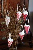 Christmas decoration cones made from lampshade film and fabric remnants