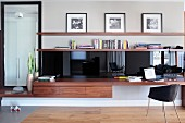 Elegant, custom, multifunctional unit made from exotic wood and black glossy elements - sideboard with desk and full-length mirror