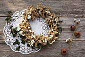 Autumn wreath of dried goldenrod, sea lavender and ivy