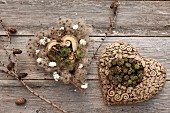 Ceramic love-hearts decorated with Sempervivums and dried flowers