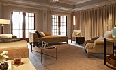 Elegant, comfortable living room with various sofas and armchairs