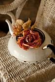 Roses in vintage, white enamel teapot on wicker chair