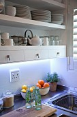 Detail of kitchen; white crockery on shelves with integrated drawers above kitchen counter