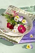 Violas on floral plate