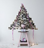 Stylised Christmas tree made from black and white family photos