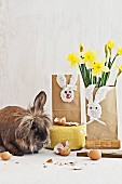 Hand-crafted Easter gift bags with fabric bunny motifs