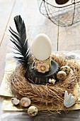 Vintage-style Easter arrangement of duck's egg on upturned cake tin in straw nest with quail's eggs and black feather