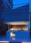 Outside view of Japanese, architect-designer house at twilight