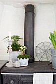 Candlesticks and plants in white pots on top of old cast iron cooker