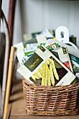 Wicker basket of seed packets