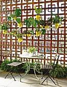 Tisch mit zwei Stühlen auf der Terrasse vor dekorativer Sichtschutzwand mit Lochmuster, daran aufgehängte Blumentöpfe