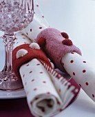 Hand-made felt napkin rings with polka-dot pattern