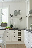 White country-house kitchen with panelled fronts and white wainscoting