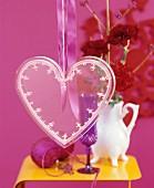 Transparent love-heart as festive decoration