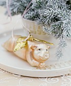 Pig with wings Christmas tree bauble
