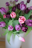 Bouquet of purple and pink tulips