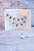 A homemade Christmas card with bunting