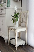 White orchid on wooden chair with white peeling paint above small upholstered footstool