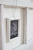 St. Valentine's Day greeting on framed chalkboard