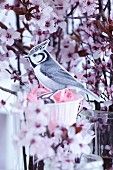 A paper bird with a paper muffin case nest in a sprig of blossom
