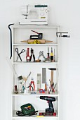 Various tools on a shelf