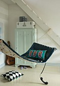 A homemade denim hammock