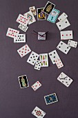 A clock made from playing cards