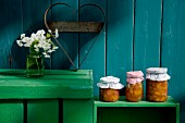 Granny's recipe: rhubarb and apricot jam with sweet woodruff
