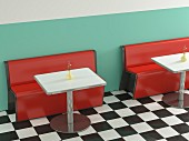 American-style café with red benches, metal tables & chequered floor