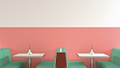 American-style café with green benches, metal tables & pink wall