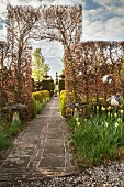 Paved path leading through hornbeam arch in Tuinzondernaam gardens