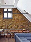 Exposed brick wall in living area
