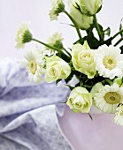 Bouquet of white roses and gerbera daisies