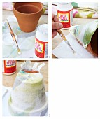 Decorating flowerpot with fabric decoupage