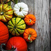 Bright pumpkins and autumn leaves on rustic wooden surface