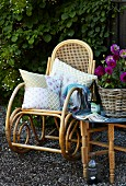 Comfortable rocking chair with patchwork cushions; vintage outdoor ambiance