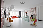 Mickey Mouse statue in living room full of curiosities