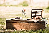 Decorative candle lantern and open picnic cutlery case on low vintage table outdoors