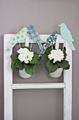 Bird ornaments hand-crafted from coloured paper and corrugated cardboard decorating potted white primulas hung on vintage window frame