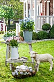 Basket of eggs, lamb statue and flowers in metal containers on rustic wooden table in garden