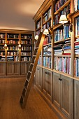 Sconce lamps with lampshades attached to floor-to-ceiling bookcases in traditional library with library ladder