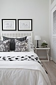 White bedroom with black accents