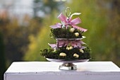 Cake stand decorated for Easter with egg ornaments, figurines and pink ribbon