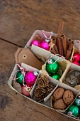 Various Christmas decorations in box