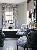 Elegant traditional bathroom with Delftware patterns