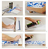 Glue decorative paper to a simple shelf
