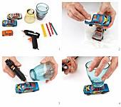 Gläser auf Rädern herstellen - Trinkgläser auf Spielzeugautos kleben